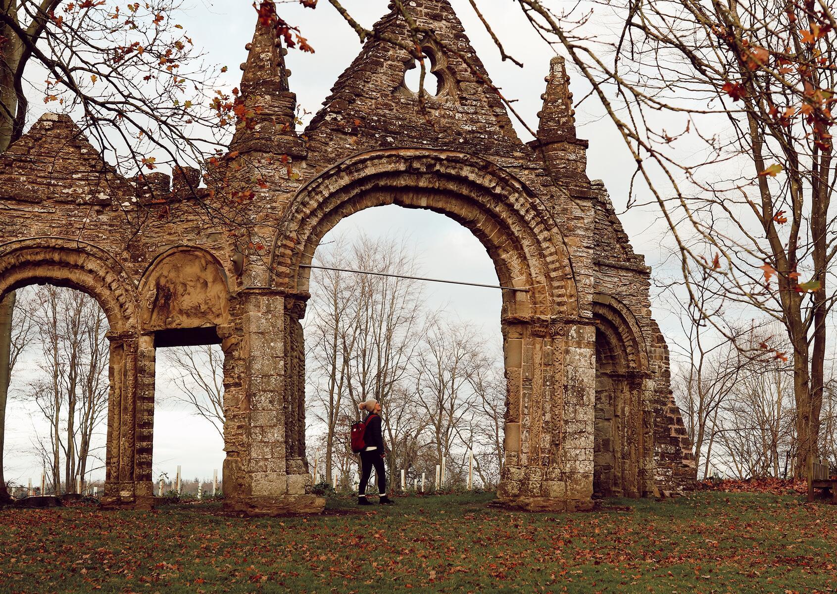 View of the stone ruins Shobdon Arches