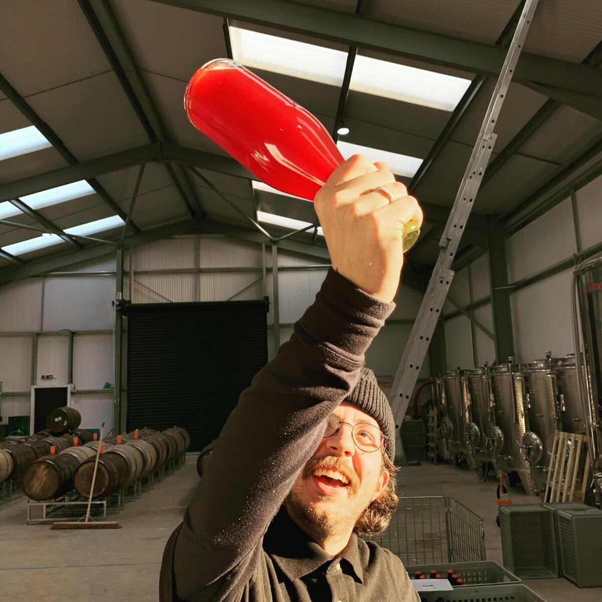 Chocks away 🍎 It's not just straight cider and perry crafted here, as demonstrated by assistant cidermaker, Blair Cote