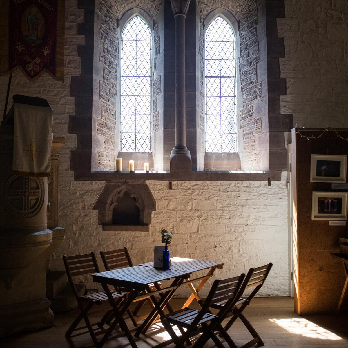 The Hub is based in St Peter's Church: so atmospheric