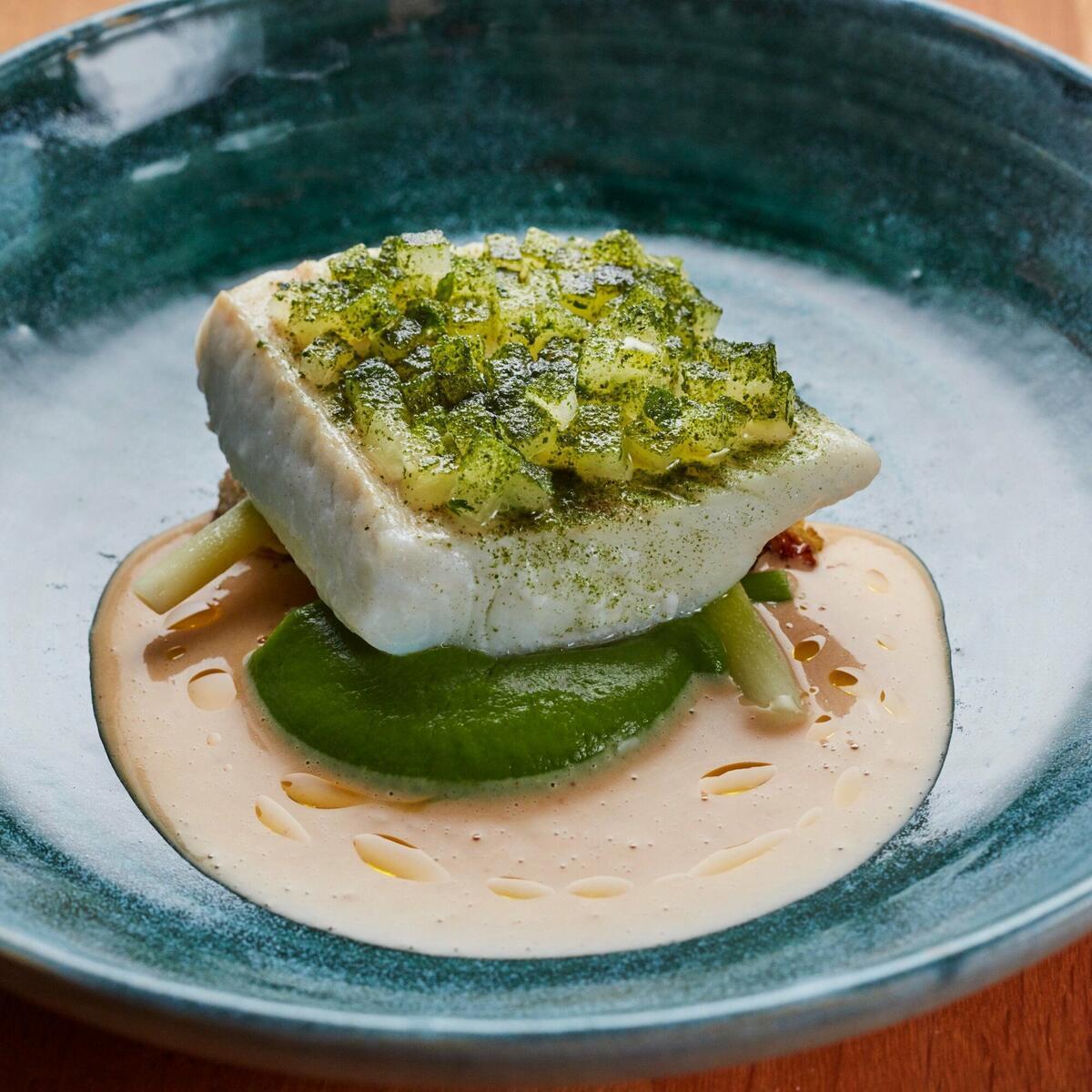 Cod, celeriac, apple and truffle sauce by Jodi Hinds