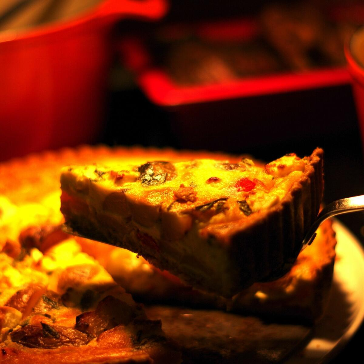 a slice of our award-winning quiche
