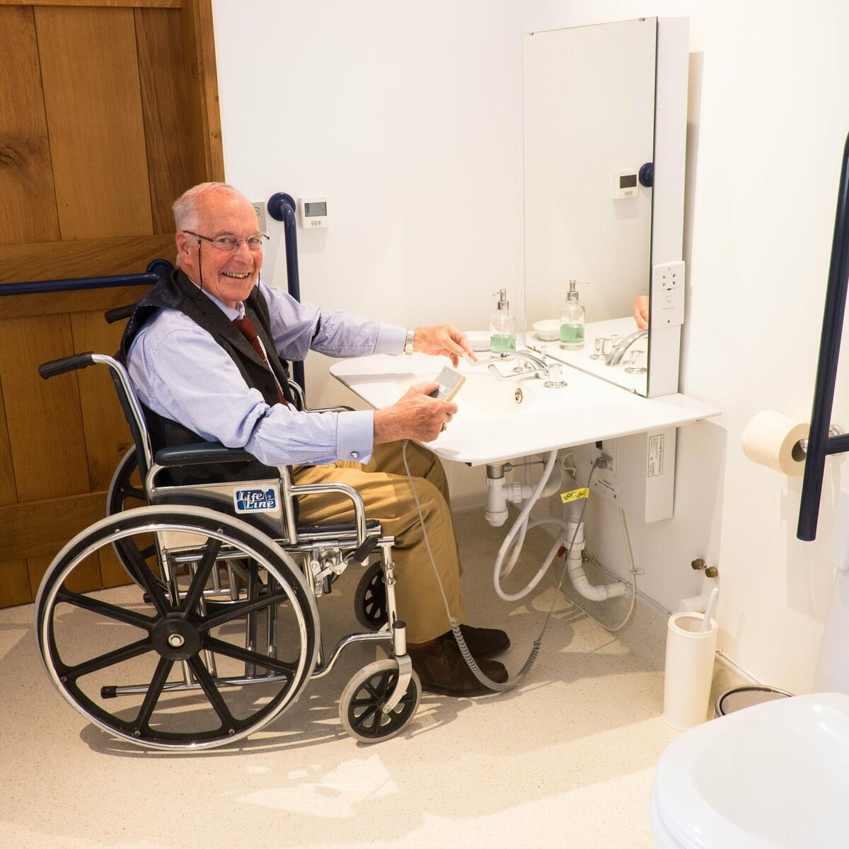 Accessible Bathroom, rise and fall work top