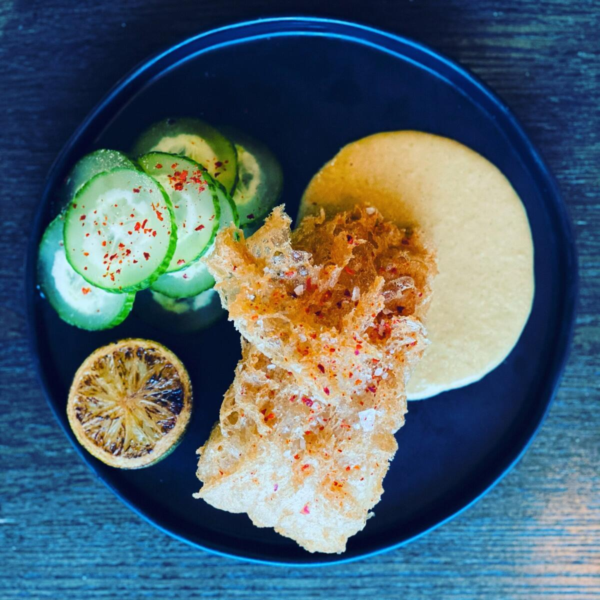 Butty Bach Pollock / Satay Sauce / Pickled Cucumber