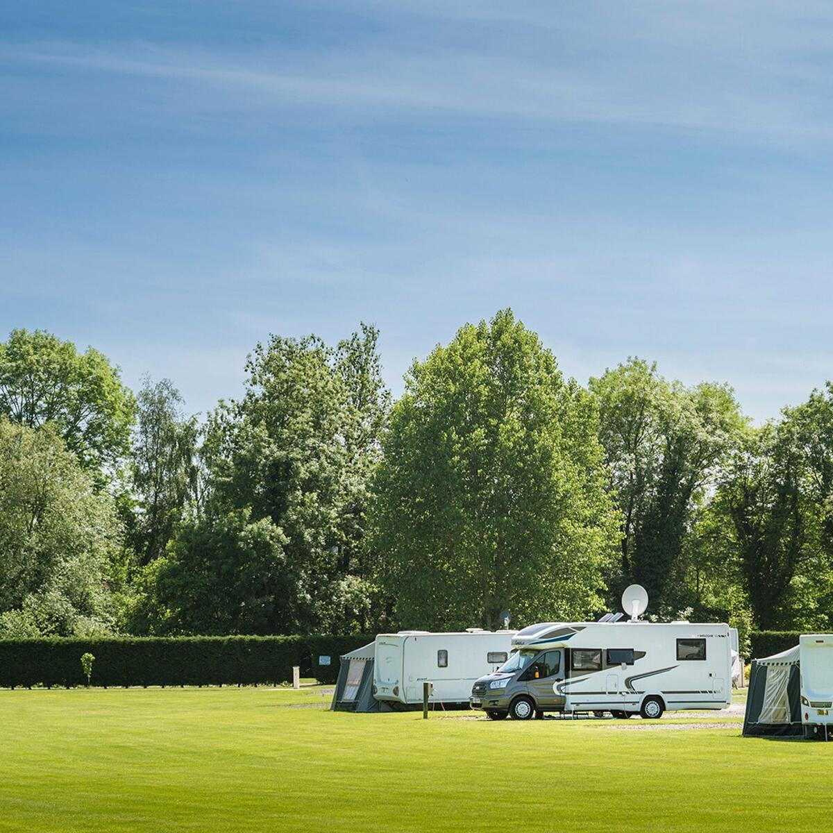 Spacious premier touring pitches and level touring area