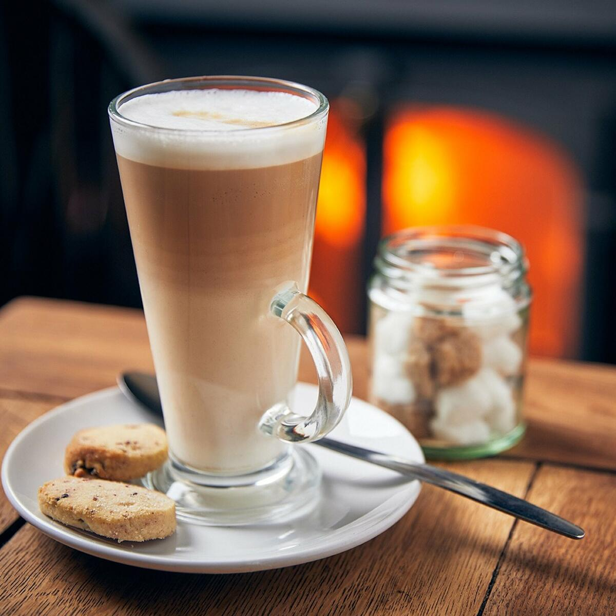 A warm coffee by the fire