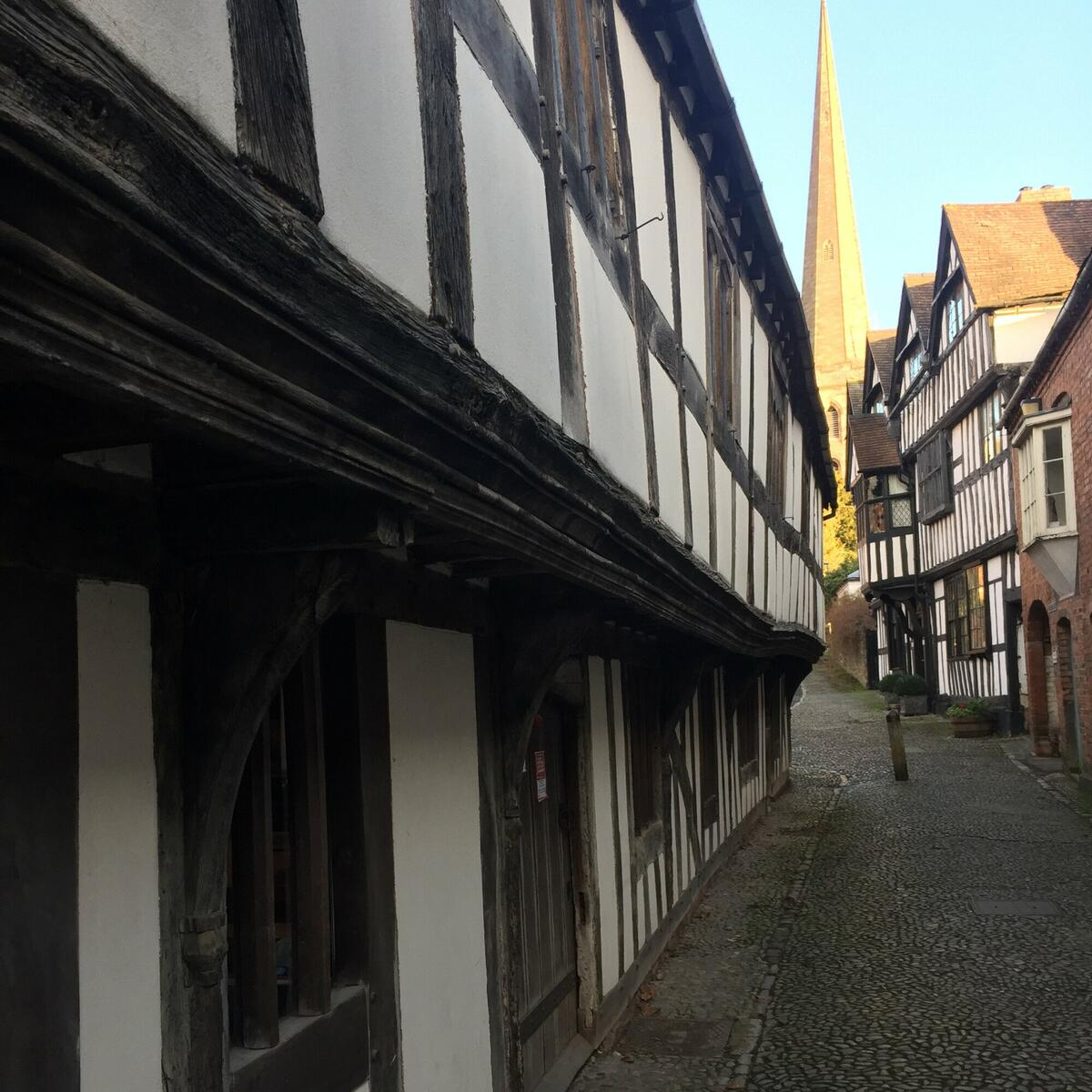 Looking up Church Lane, Old Grammar School on the left