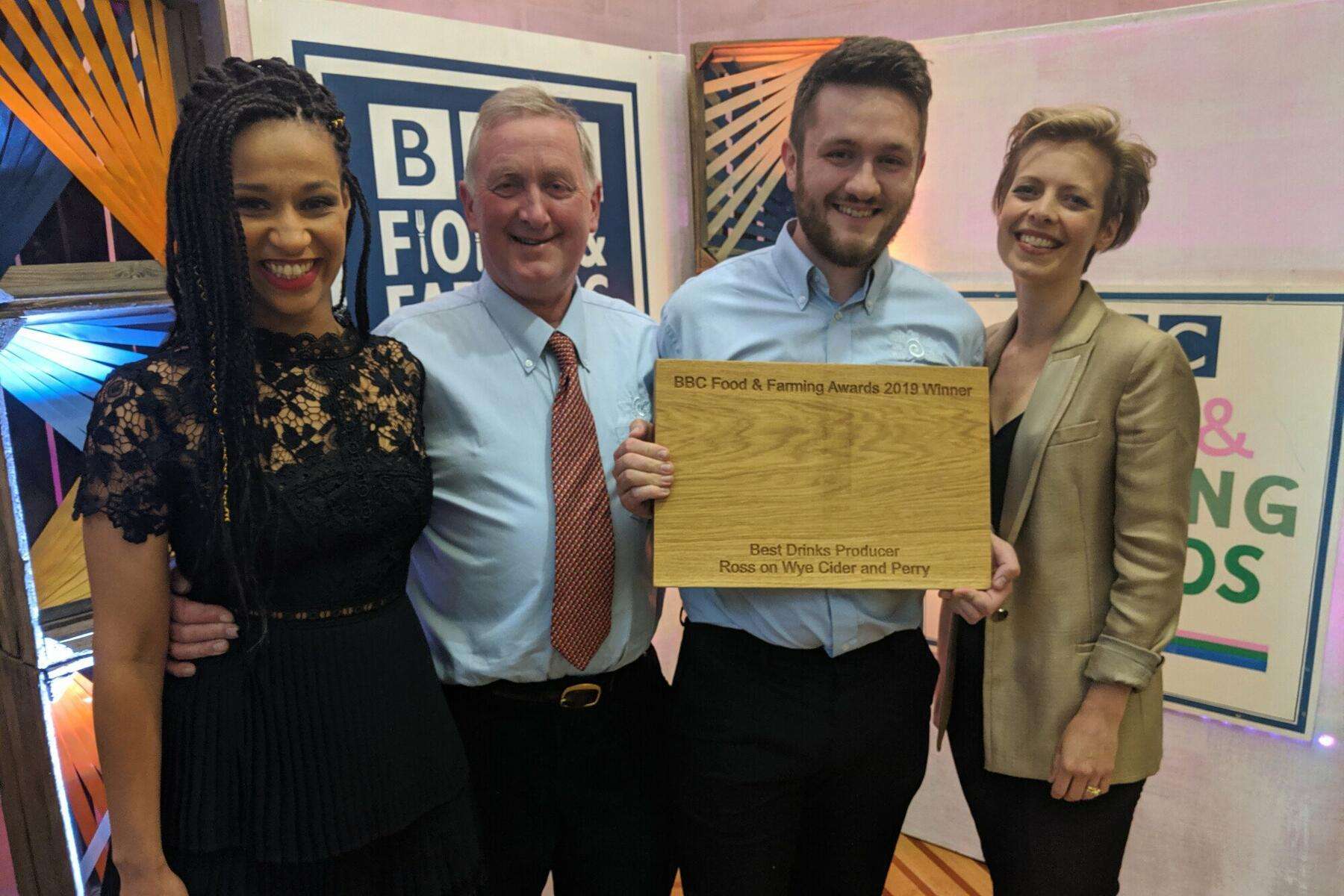 In 2019 we won the BBC Food&Farming Awards 'Best Drinks Producer' category, Mike & Albert pose here with amazing judges Jaega Wise and Alice Lascelles