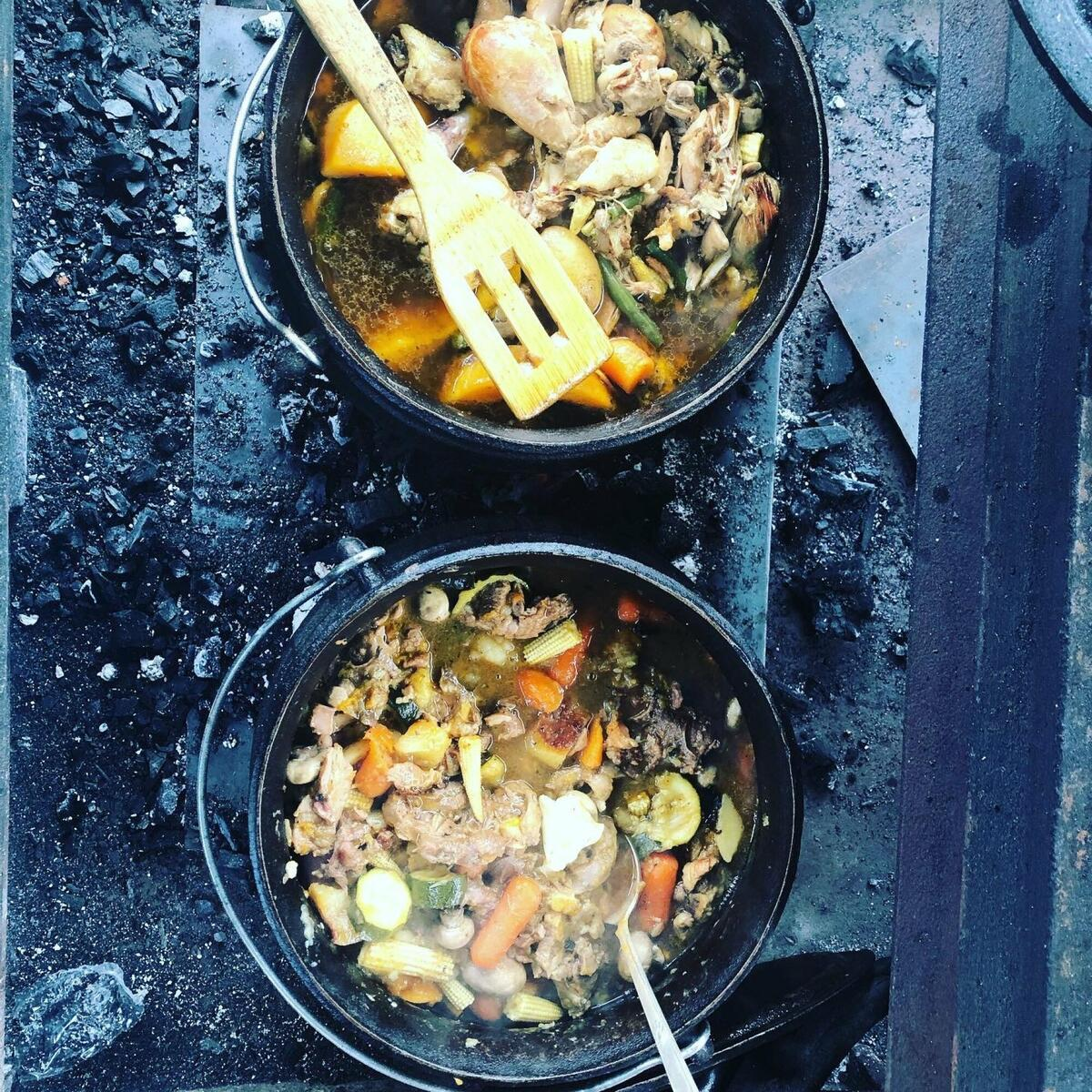 Curries cooked on open fires