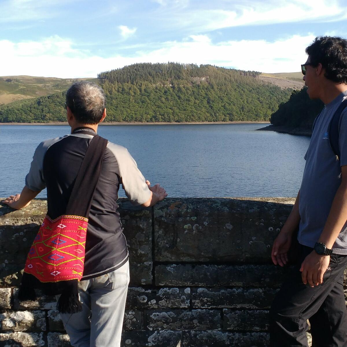 Elan Valley, john and Rohit enjoying the view