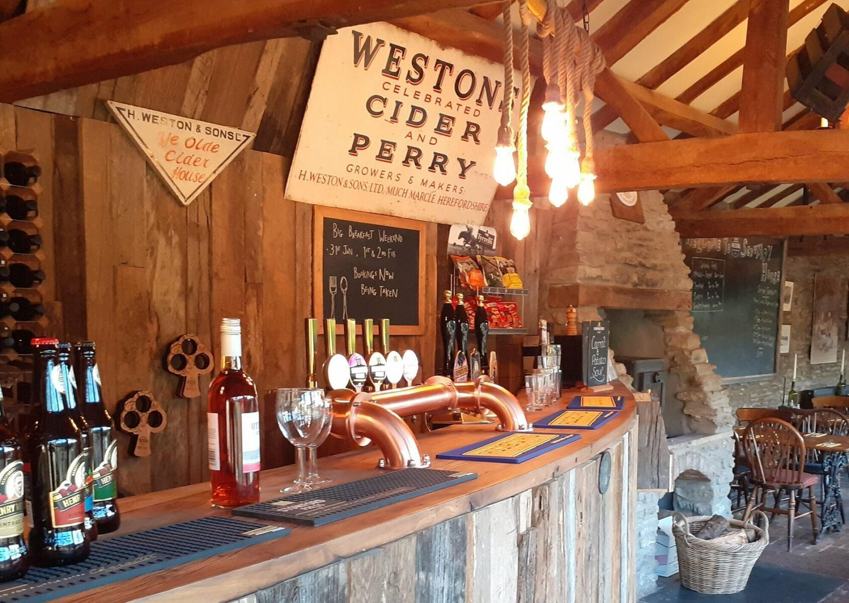 The bar in the Scrumpy House Restaurant