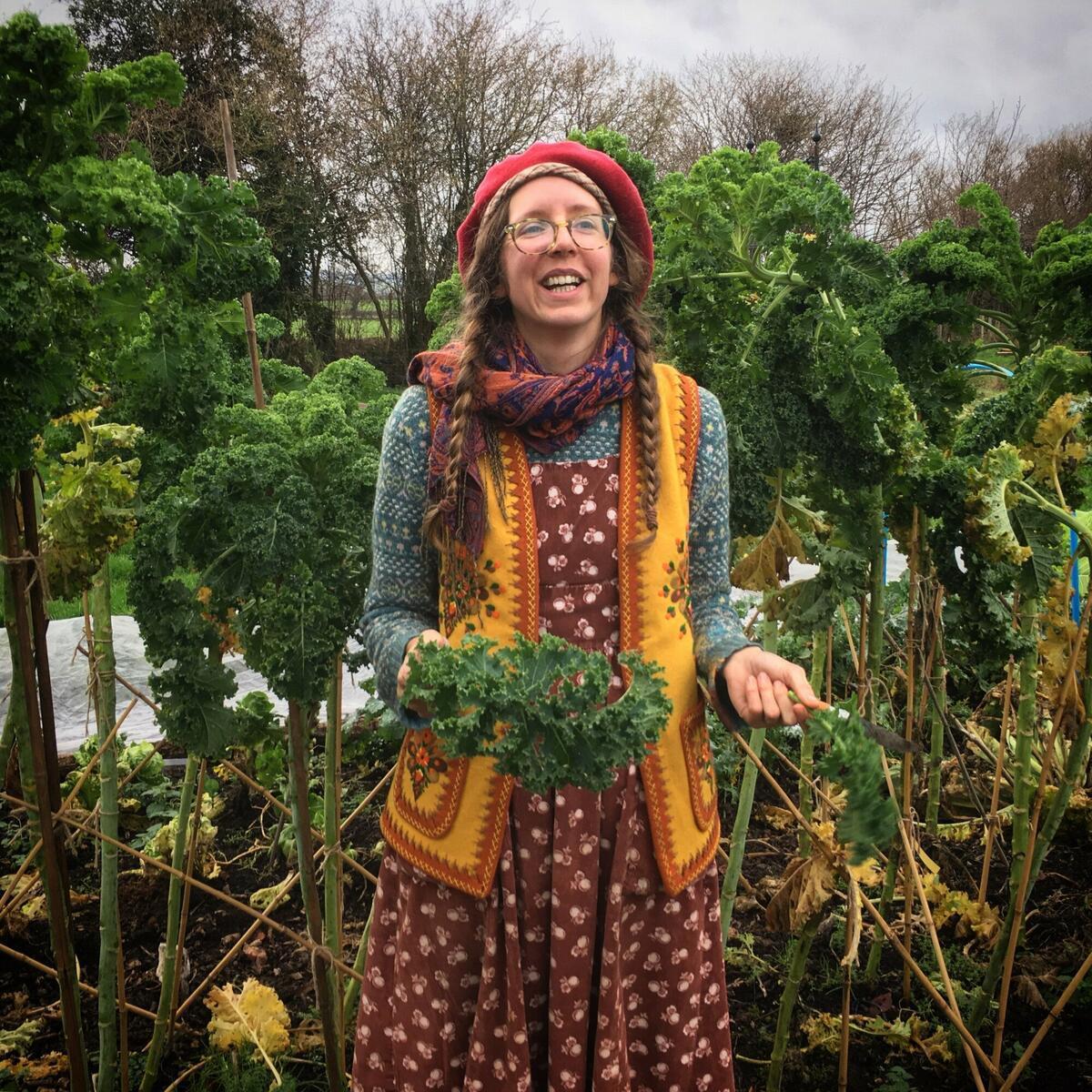 Lydia in the no dig veg garden