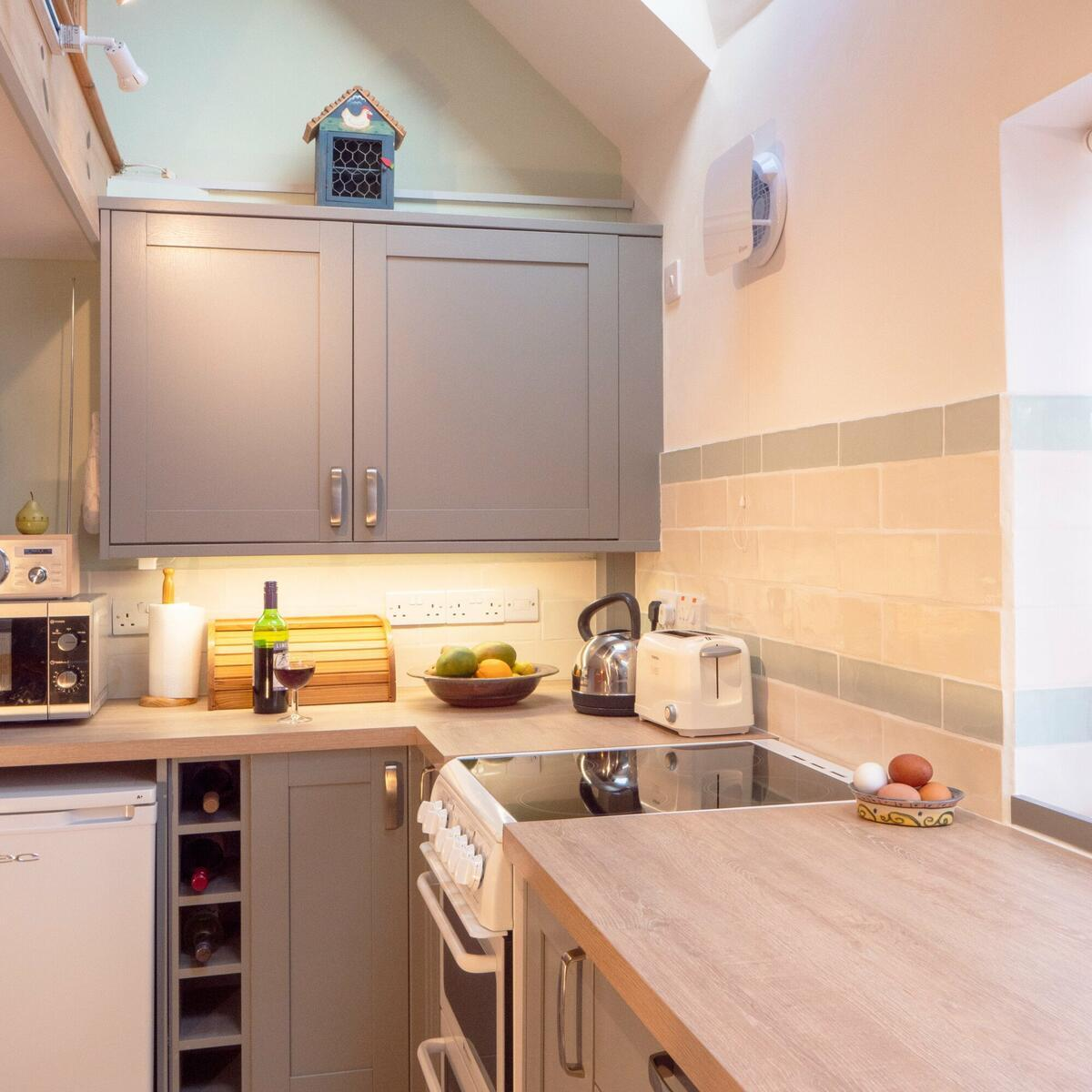 the new kitchen, lit from skylights above