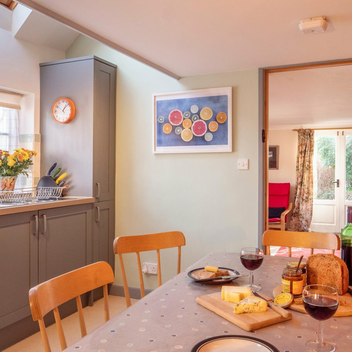 The kitchen, with view through to the living room